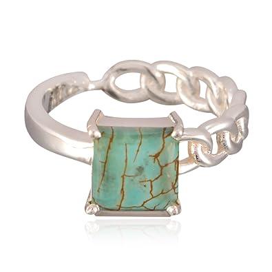 schöne Edelstein Quadrat Cabochon Turquoise Ringe - 925 Silber Multi ...