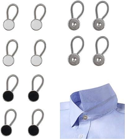 ManYee - Extensor de botones para cuello de camisa de vestir, camisa y pantalón (12 unidades), color negro, blanco y plateado