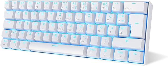 Rk Royal Kludge RK61-DE QWERTZ - Teclado mecánico con Bluetooth, teclas PBT, con cable/inalámbrico, teclado QWERTZ (no necesariamente español) Color ...