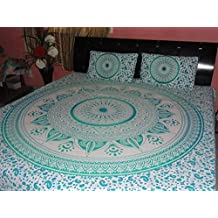 Montreal Tapassier Green Ombre Bedding Set 2 FREE PILLOW CASES LARGE QUEEN SIZE Indian Hippy elephant Tapestries,bed sheets ,bed spread,hippy bed sheets,wall hangings,ethnic decor,home decor bed sheets,throw,picknic blankets,dorm tapestries By Montreal Tappesier