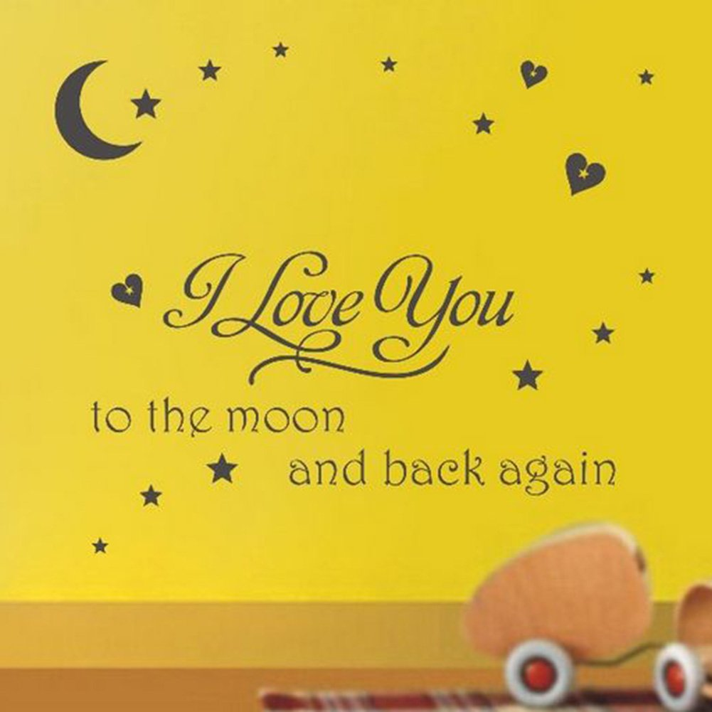 Amazon.com: Soledi® Black Vinyl Wall Decal I Love You to the Moon ...