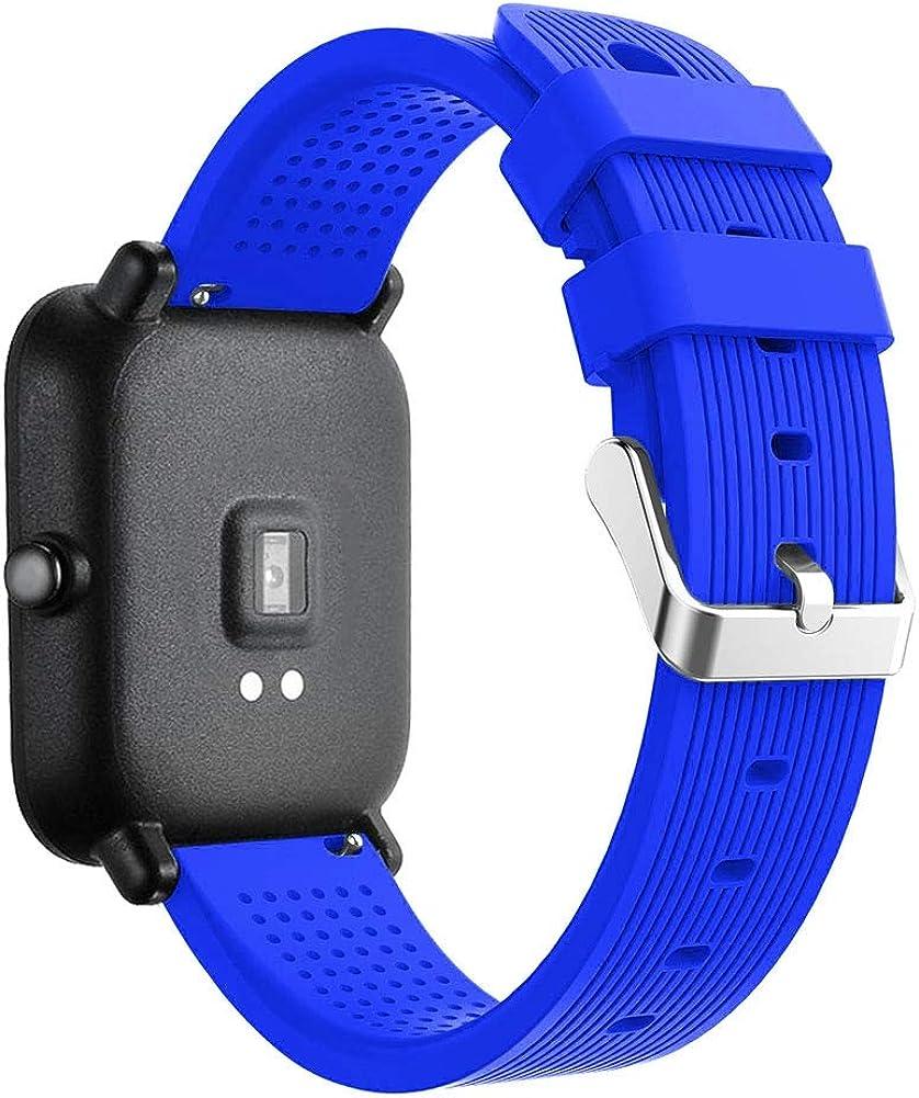 Bracelet de Montre Homme et Femme Compatible avec Huawei Watch GT 2 (42mm) / Honor Watch Magic 2 (42mm), Ajustable en Silicone Souple et Robuste, Grand Choix de Couleurs Bleu