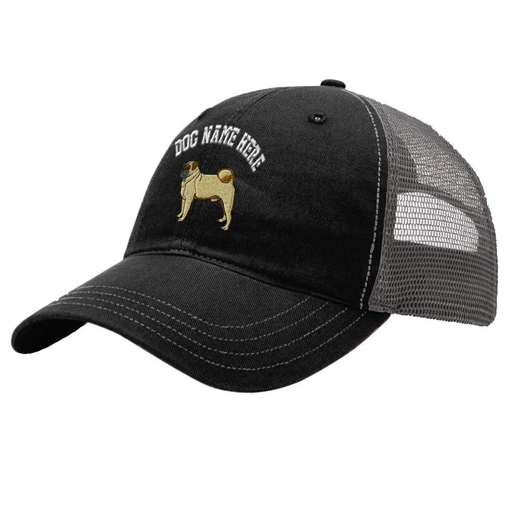Custom Trucker Hat Richardson Pug A Embroidery Dog Name Cotton Soft Mesh Cap