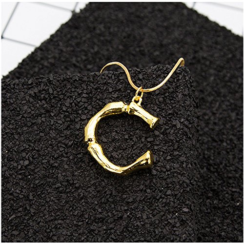 MINGHUA Large Initial Necklace Gold Big Letter Script Name Pendant Monogram Necklace for Women Gift (C) ()