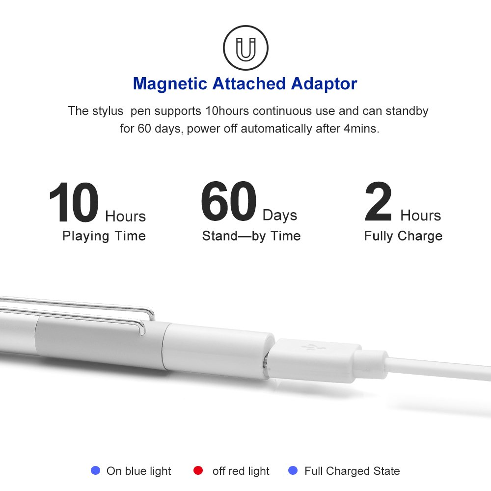 iPens X1 Active Stylus Pen, iPad Pencil Touch Pen, Capacitive Rechargeable Pen Replaceable Fine Point Rubber Tips, 4 Mins Auto Power off, for iPad/iPhone/iPad Pro/iPhone X -Silver by iPens (Image #5)