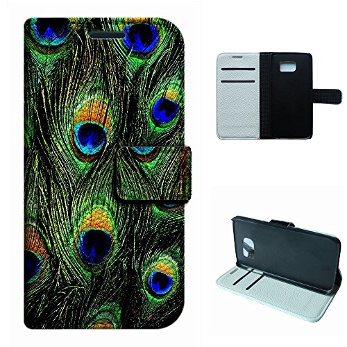 Galaxy S6 Case, SoloShow® New Samsung Galaxy S6 5.1 inch Case peacock feathers pattern Luxury Wallet PU Leather Case Flip Cover Built-in Card Slots & Stand -