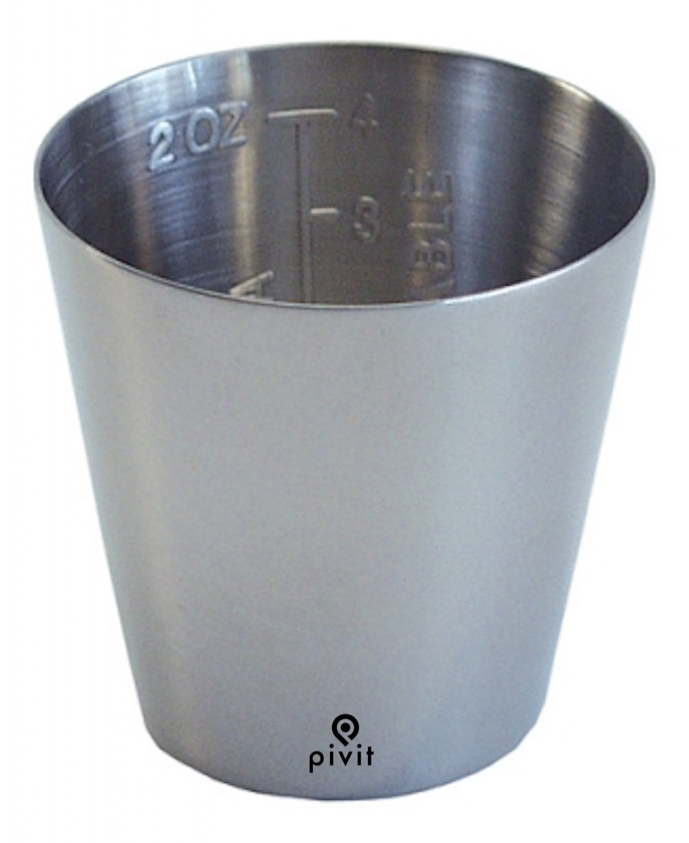 Pivit Graduated Stainless Steel Medicine Cup, 2 oz 2'' x 1-3/4''   Protects & Prevents Bacteria Growth Against Defects   Measures Accurate Dosage Easy-to-Read Graduations in oz Or CC