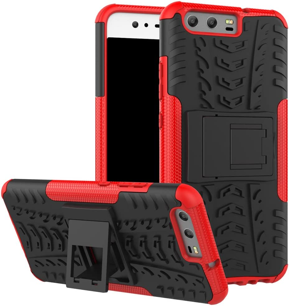 Hybrid Shock Absorption Scratch Resistant TPU Grip Skin Silicone Full-body Protective Cover Shell for Huawei P10 orange Slim Thin Huawei P10 Armor Kickstand Case,Ultra