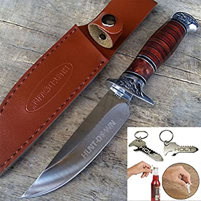 "10"" Hunt-Down Brown Wood Handle Fixed Blade Hunting Full Tang Bowie Knife with Leather Sheath 