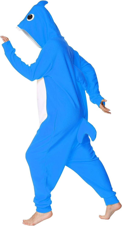 Markest Onesie Unisex Adult Pajamas Animal Blue Shark Cosplay Costume Sleepwear