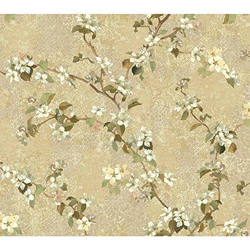 York Wallcoverings TB4220 Charlotte Apple Blossom Trail Wallpaper, Beige, Tan, Brown, Cream, Yellow, Grey, Green