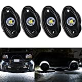 PXPART 4 pcs LED Rock Lights White 2inch Off Road Underglow Lights Underbody Trail Rig Light Kit Waterproof for Jeep ATV UTV 4x4 Truck Boat