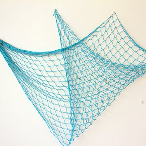 Bilipala Rustic Decorative Fishing Net Wall Decor Nautical Style Wall Hangings Ornaments, Blue
