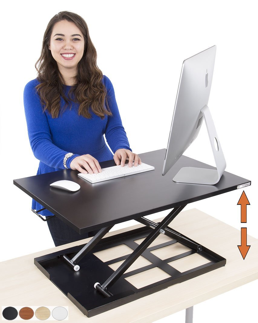 Standing Desk - X-Elite Pro Height Adjustable Desk Converter - Size 28in x 20in Instantly Convert any Desk to a Sit / Stand up Desk (Black) by Stand Steady (Image #1)