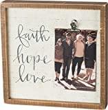 Inset Wooden Picture Frame with Painted Quotation ''Faith, Hope, Love'' - Decorative Box Sign and Photo Holder