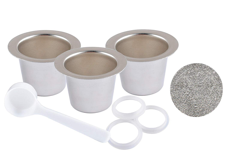 ステンレススチール詰め替え可能カプセル再利用可能なコーヒーポッドfor Nespressoマシン – 3ポッド、120 Lids with 1スプーン B07DFFD8NM