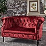 Melaina Garnet Velvet Loveseat - Tufted Rolled Arm Velvet Chesterfield Loveseat Couch