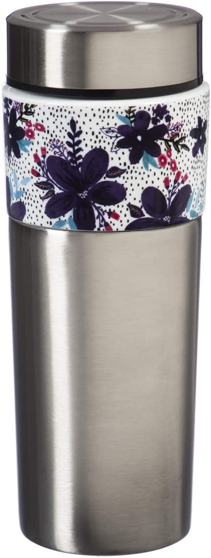 Cypress Home Tandem Double Wall Stainless Steel and Ceramic Cup Tumbler, 17 OZ in Peppercorn Bloom