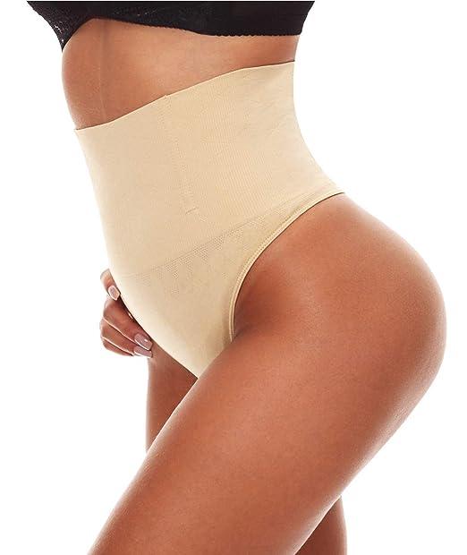 5cdb34c1c4597 NINGMI Women Thong Underwear Middle Waist Tummy Control Panties Seamless  Bady Shaper Apricot