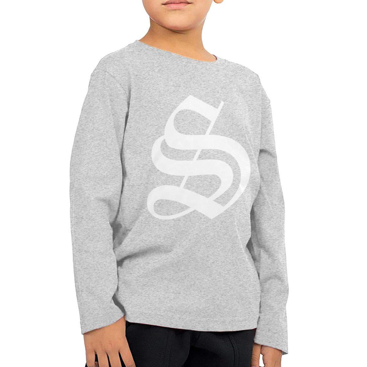 HADYKIDSLOVE Old English Letter S Initial Kids T-Shirt Long Sleeve Boys Girls T-Shirt