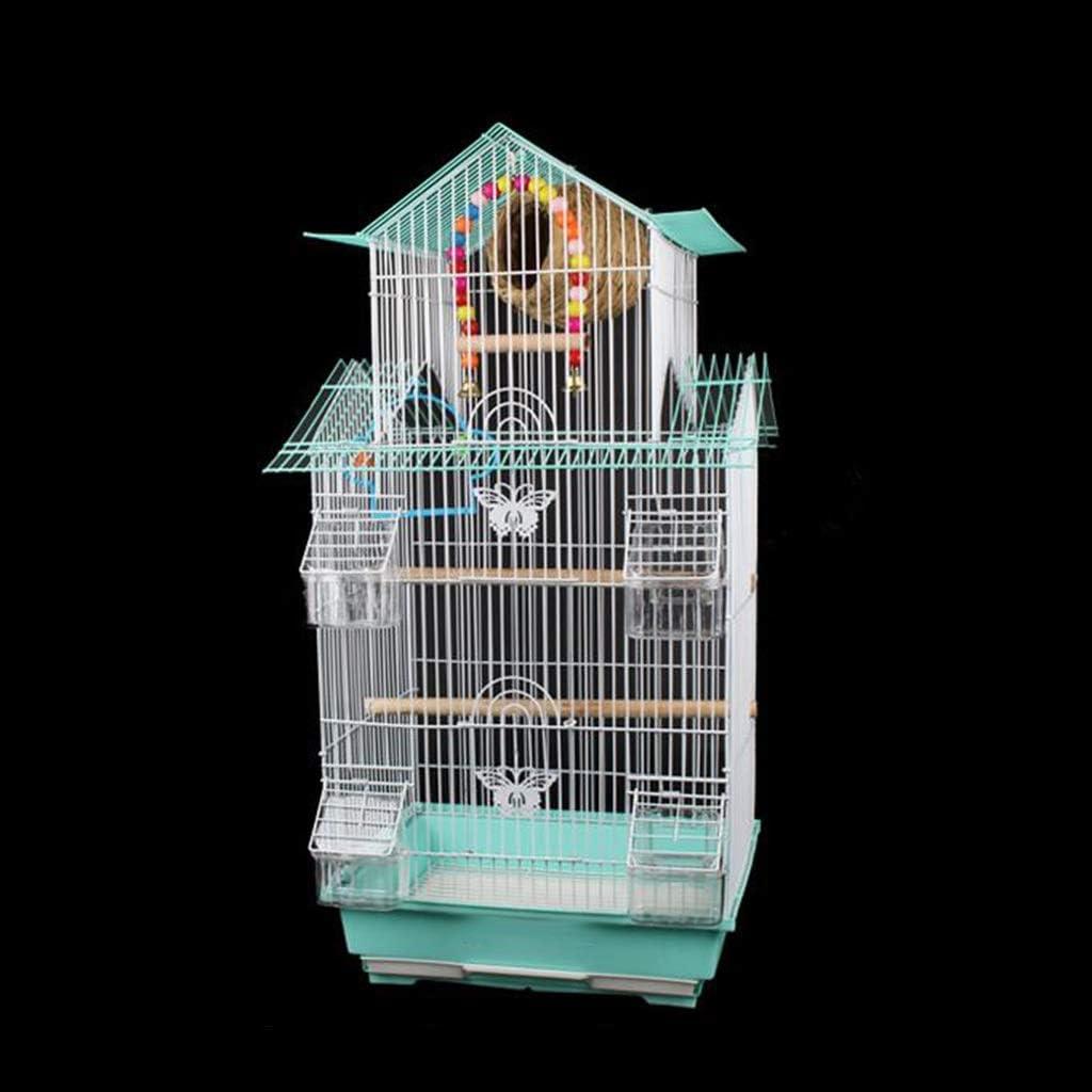Z-W-dong Mascota de la jaula, el nido del Birdcage con el pájaro, Escalera, El columpio Birdhouse de interior y al aire libre del metal de la jaula del pájaro del loro verde Lovebirds Jaulas para pája