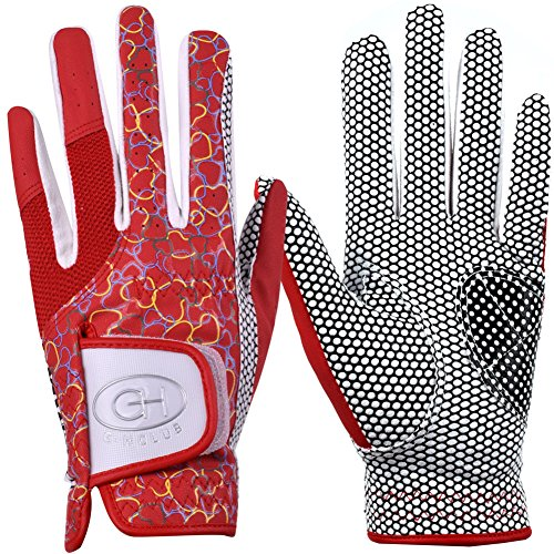 GH Women's Leather Golf Gloves One Pair - Heart Patterned Both Hands