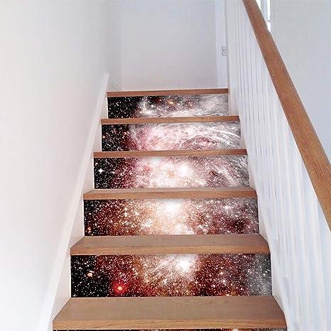 FWSY Auto-Adhesivos Pegatinas de Escalera, Pared Pintura Vinilo Escalera calcomanía Decoración 39 Pulgadas x7 Pulgadas X 6 Piezas: Amazon.es: Deportes y aire libre