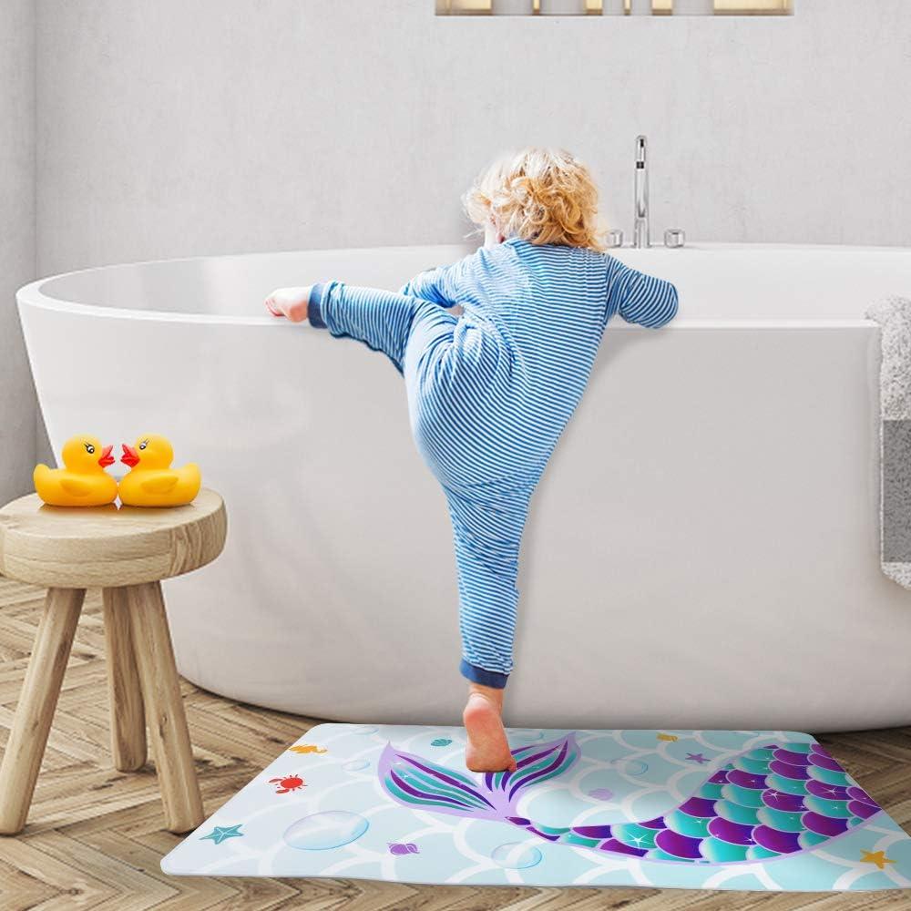 """Nonslip Shower Mats for Baby Kids Toddler 16/""""x28/"""" Durable Flexible PVC Bathroom Bath Tub Mats with Suction Cups WERNNSAI Mermaid Bathtub Mat"""