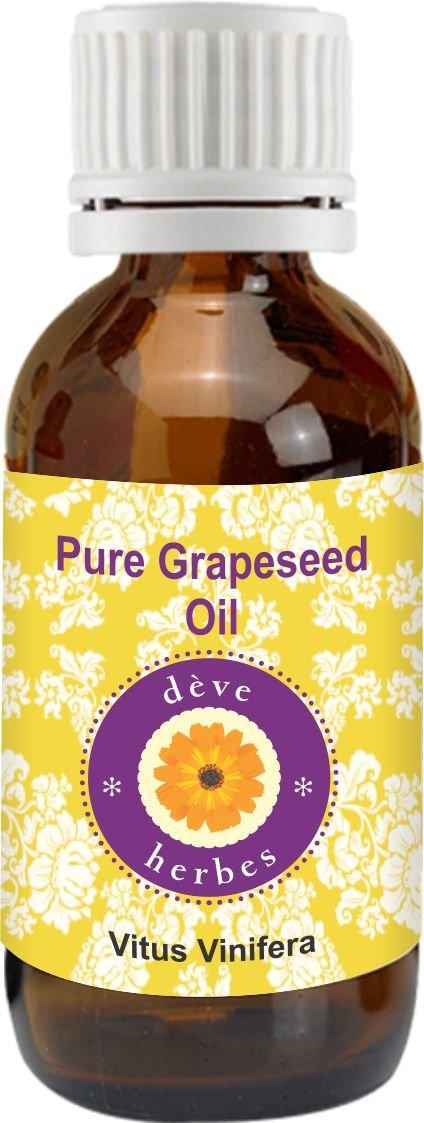 dève herbes Pure Grapeseed Oil (Vitis vinifera) 100% Natural Cold presssed & Therapeutic Grade (1250ml)
