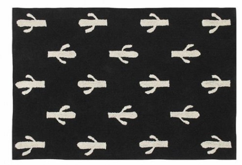 Lorena Canals, Artisan Made Beige and Black Cactus Stamp 4' 8'' X 6' 7'' Washable Area Rugs by Lorena Canals