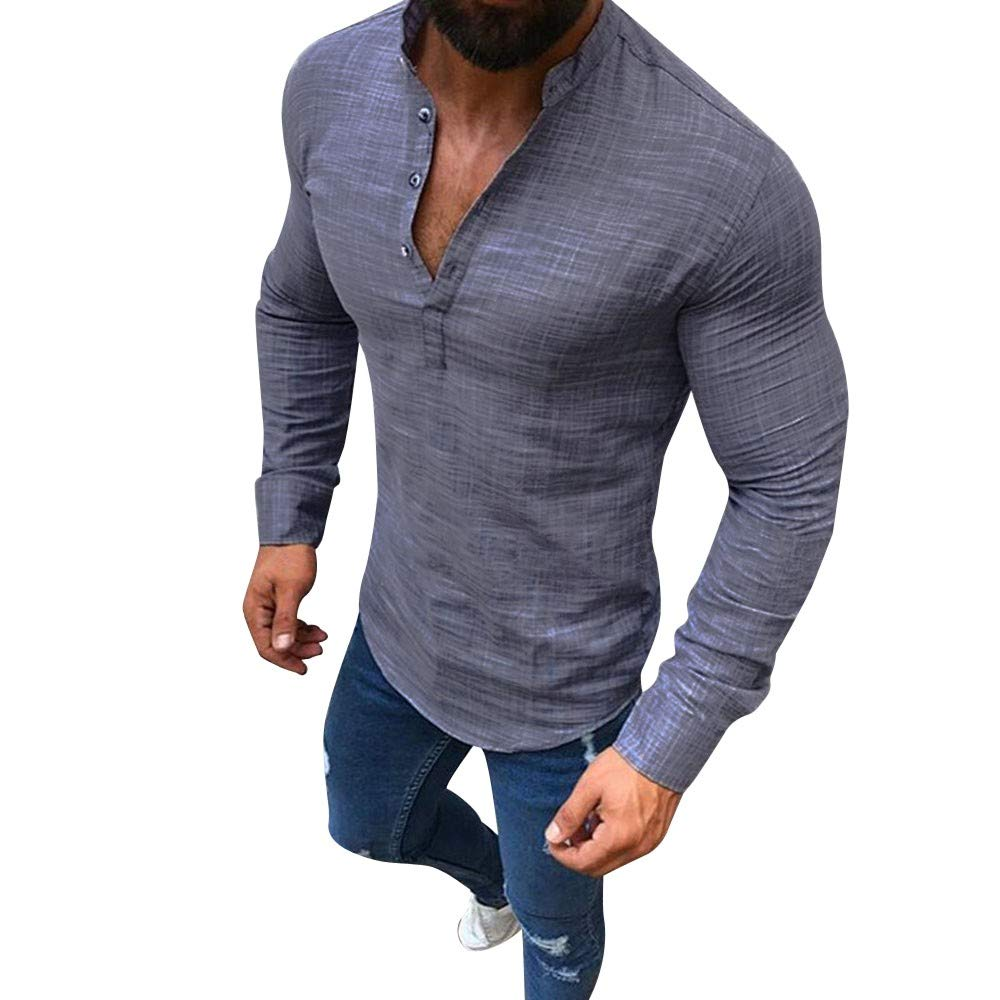 Dempuss Men Linen Long Sleeve Button Shirts Casual Business Slim Fit Top