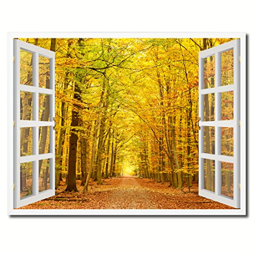 Pathway Autumn Park Yellow Leaves Picture French Window Art Framed Print on Canvas Office Wall Home Decor Collection Gift Ideas, ()