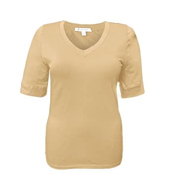 4f5eb813322 Zumie Couture Junior Plus Size Elbow Sleeve V-Neck Cotton T-Shirt Top by
