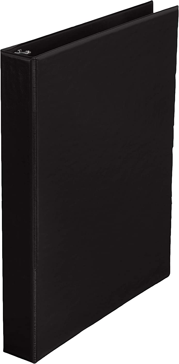 AmazonBasics 1-Inch Round Ring Binder, Black, Non-View, 12-Pack