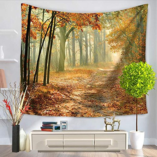 LvBo Sunny Forest Road Decorative Tapestry Autumn