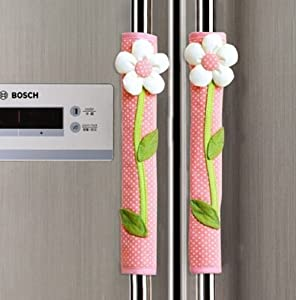 FLYPARTY 2X Handle Covers- Cloth Protector for Electrical kitchen Appliances,Fridge,Microwave,Dishwasher,Freezer, Oven Door - Keep Clean from Drips,Smudges&Fingerprints Dust (Pink)