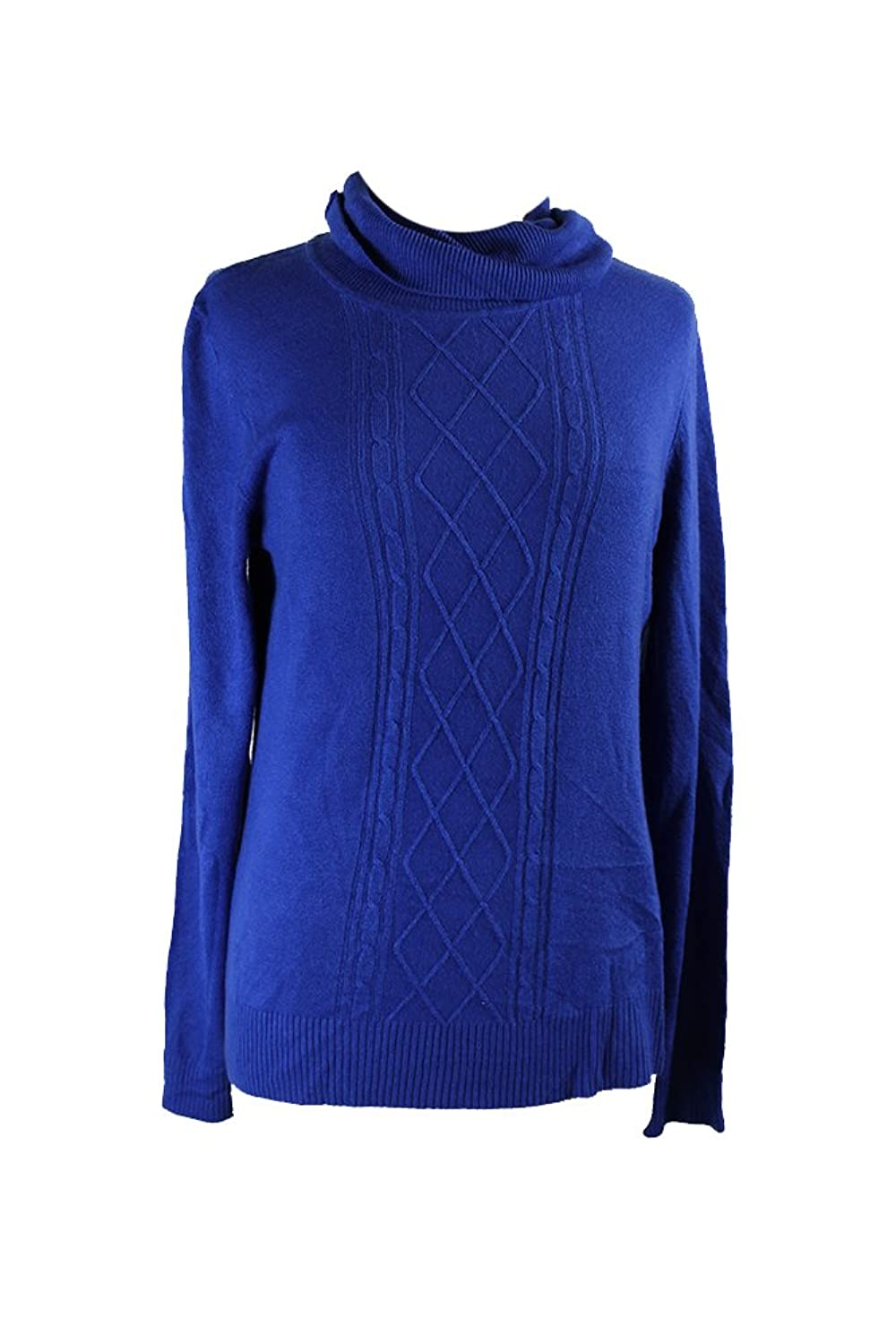 Karen Scott Royal Long-Sleeve Mock Turtleneck Sweater L