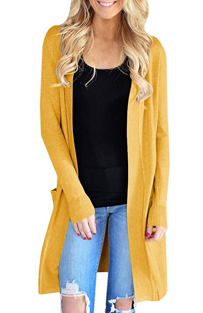 Sherrylily Womens Open Front Long Cardigans Long Sleeve Solid Color Pocket Sweater Coats Yellow Small