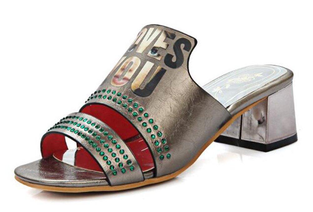 Easemax Damen Modisch Strass Buchstabe Muster Slip On Mules Pantoffeln Sandalen