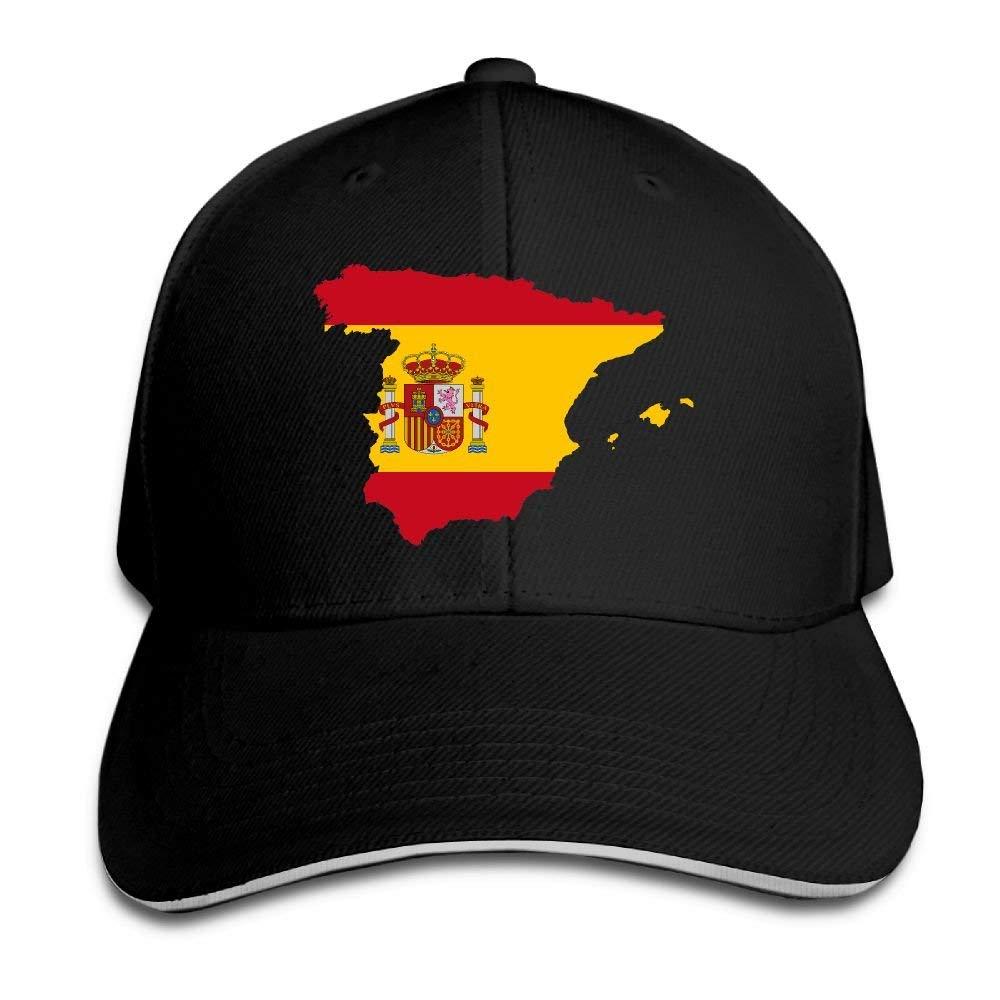 Vintage Adulto Bandera de España Mapa Snapback Sombrero Negro ...