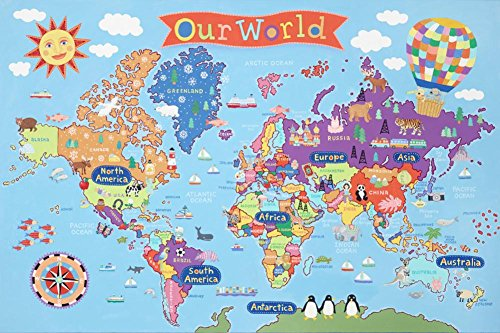Kid's Laminated World Map Laminated Poster 36 x 24in
