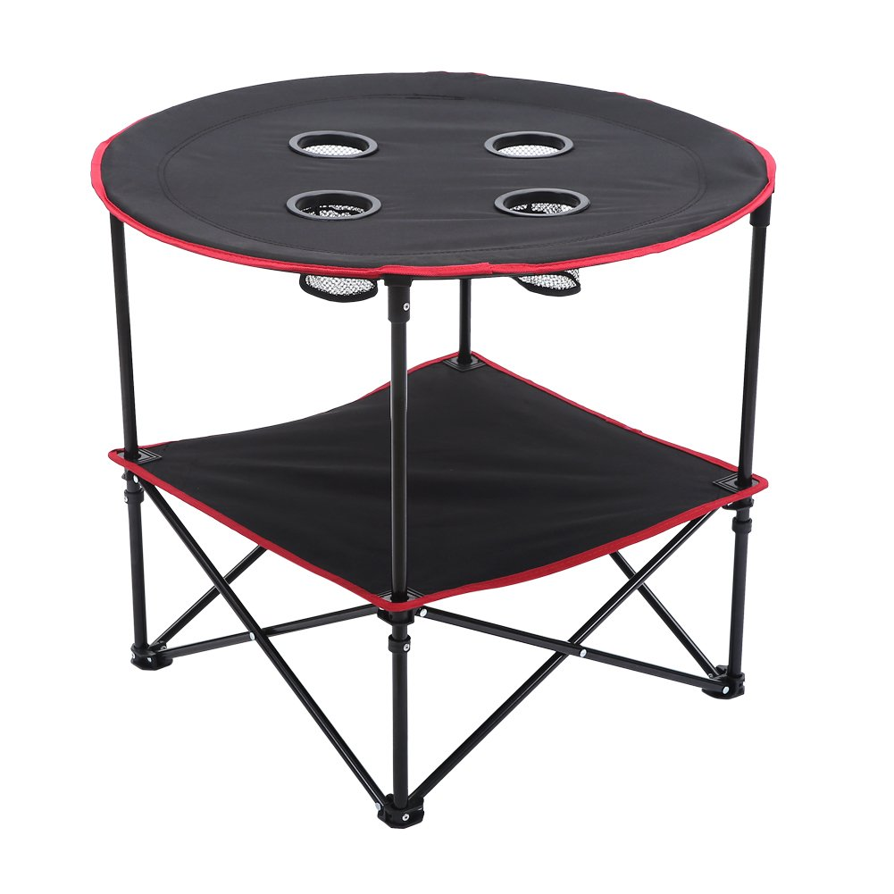 CampLand Folding Round Table with 4 Cup Holders for Camping Hiking Travel