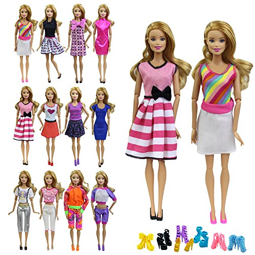 Doll Accessories Barbie Clothes (ZITA ELEMENT 10 items =5 Fashion Summer Short Wear Clothes Outfit +5 Shoes for Barbie Dolls Clothes Costume-Random Style)