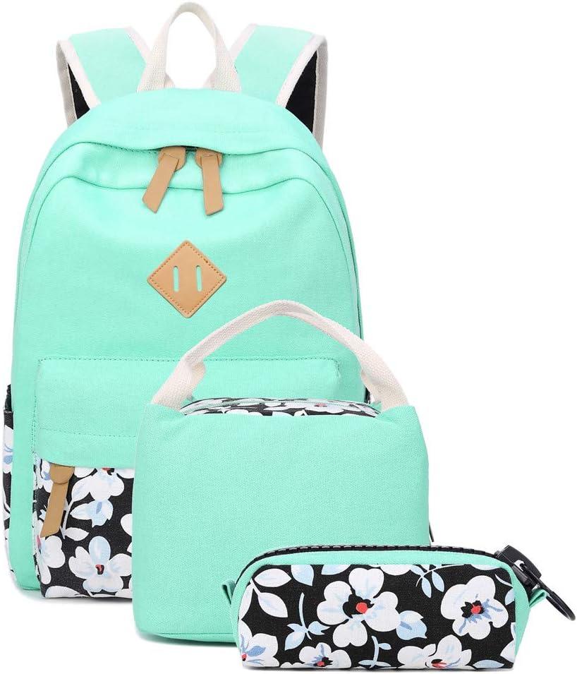 School Backpacks for Teen Girls Lightweight Canvas Backpack Bookbags Set (Light Green-1)