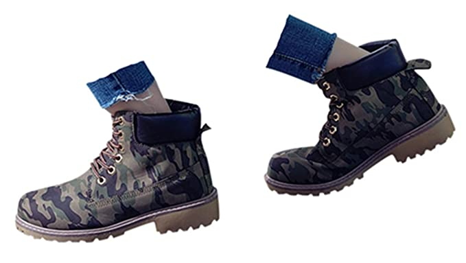 dae5158613e1b Gyoume Hiking Boots Women Lace Up Boots Shoes Flat Wedge Boots Winter Ankle  Boots Shoes