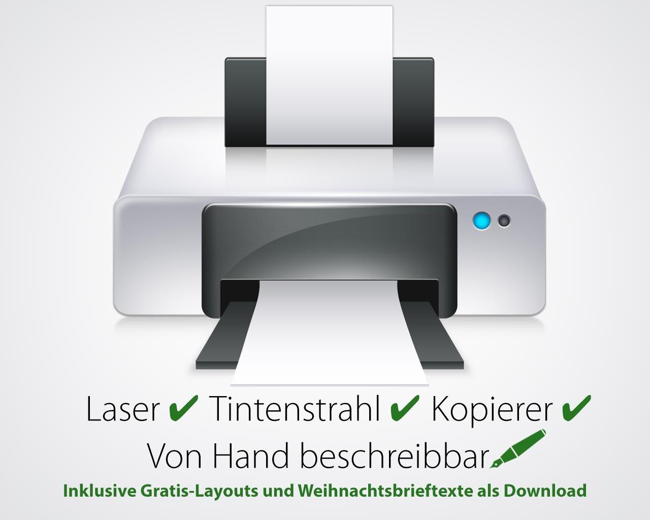 Weihnachtskarten Simplyy Stars 240g-Karton DIN LANG-Format problemlos bedruckbar mit allen Druckern 10 St/Ÿck