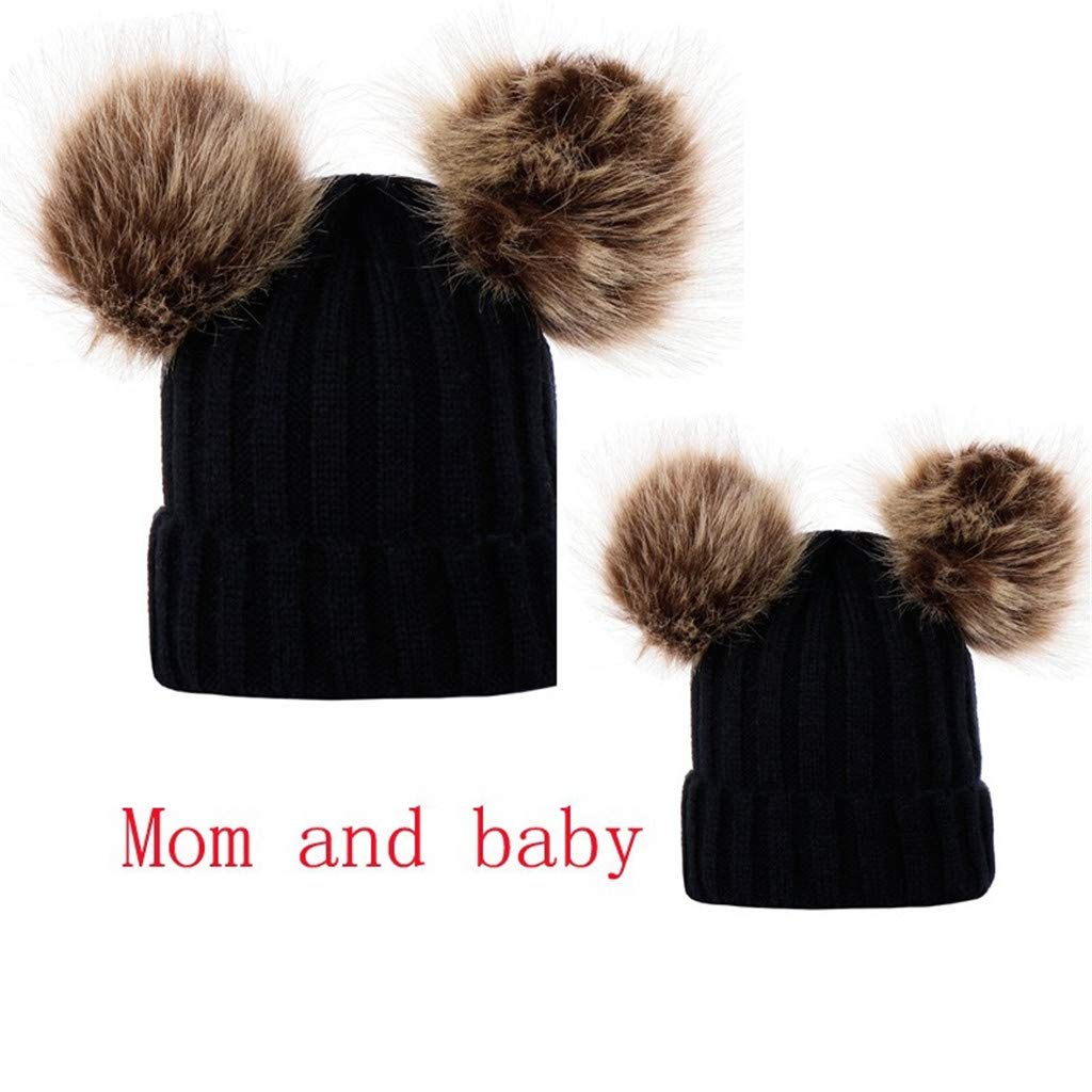 SJIAO Mommy and Me Hats Set Baby Hats Newborn Unisex Baby Hats /& Caps Mom Baby Matching Knitted Winter Hats for Mom Daughter