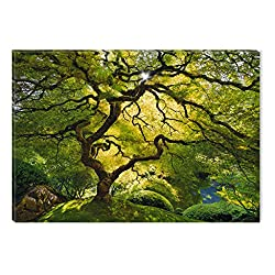 Startonight Wall Art Canvas Beautiful Green Maple, Nature USA Design for Home Decor, Dual View Surprise Artwork Modern Framed Ready to Hang Wall Art 23.62 X 35.43 Inch 100% Original Art Painting!