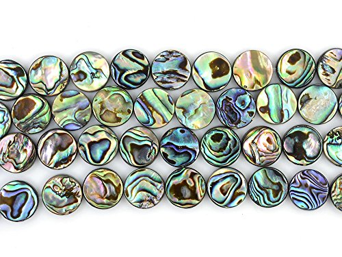 - 12mm Natural Abalone Shell Flat Coin Beads Strand 16