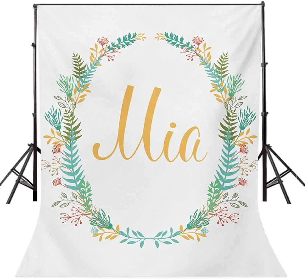 Mia 8x10 FT Backdrop Photographers,Frame of Flowers and Ferns Pattern with Handwriting Calligraphy Design Cursive Alphabet Background for Party Home Decor Outdoorsy Theme Vinyl Shoot Props Multicolor